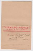 28 FÉVRIER 1937 FORMULAIRE D'ABONNEMENT L'AMI DU PEUPLE PARIS POUR ÉTAMPES SEINE ET OISE - 2 Scans - - Sin Clasificación
