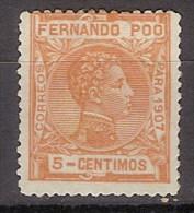 Fernando Poo 156 (*) Alfonso XIII. 1907. Sin Goma - Fernando Po