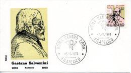 ITALIE. N°1148 De 1973 Sur Enveloppe 1er Jour. Gaetano Salvemini. - 6. 1946-.. República
