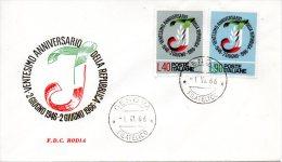 ITALIE. N°950-1 De 1966 Sur Enveloppe 1er Jour. Anniversaire De La République. - 6. 1946-.. República