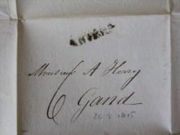 51/137     LETTRE AVEC CONTENU  DEANVERS POUR GAND     DATE 26/7/1815 - 1815-1830 (Dutch Period)