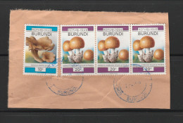 9] RARE: 4 Timbre Sur Fragment 4 Stamps On Piece Burundi Champignon Mushrom - Burundi
