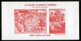 """Feuillet Gommé Rouge """"Le Salon Planète Timbres 2010 - Parc Floral De Paris"""" - Documents De La Poste"""