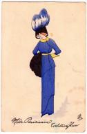 00 - DESSIN - MODE PARISIENNE - TOILETTES D´HIVER - Chapeau - Manchon - Mode