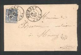 Lettre De Moissey - Jura - Daguin 7 Nov 92 Sur 15c Sage - Boite Rural G Identifiée Frasne - Marcophilie (Lettres)