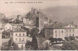 SION 6525 LA CATHEDRALE L'EVECHE ET LA VALEBRE - VS Valais