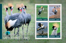 ugn14301a Uganda 2014 Bird Watching s/s Grey Crowned Cranes