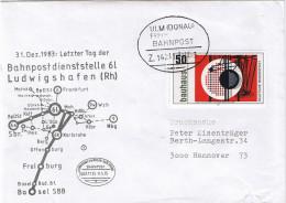 """E1390 Briefhülle Bahnpost """"ULM(DONAU)-FRIEDRICHSHAFEN"""" 1983 - [7] République Fédérale"""