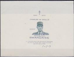 Rwanda 1971 Hommage au G�n�ral de Gaulle imperforated printed on sheetlet ** mnh (21439)