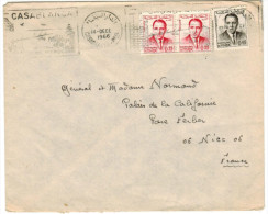 MAROCCO - MAROC - 1966 - 2 X 0,25 + 0,05 - Flamme Casablanca - Viaggiata Da Casablanca Per Nice, France - Marocco (1956-...)