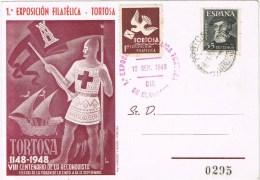 12598. Tarjeta 1º Exposicion TORTOSA (tarragona) 1948. Viñeta, Label - 1931-Hoy: 2ª República - ... Juan Carlos I