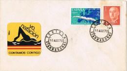 12599. Carta TORTOSA (Tarragona) 1970. Viñeta Natacion , Label - 1931-Hoy: 2ª República - ... Juan Carlos I