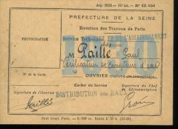 Paris Direction Générale Des Travaux De Paris 1930 Autoristion De Circuler Dans Les égouts 8x11 Cm - Cartes