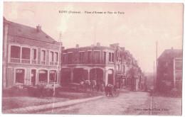 RARE Somme 80 - ROYE La Place D'Armes Et Rue De Paris Avec Superbe Animation Ed. Caffet Attelage Vélo CP Sépia ? 1929 - Roye
