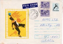 "Romania-Israel 1977 ""World Championship Women Handball"" Uprated Postal Stationery Cover - Handball"