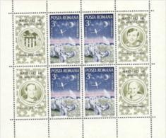 Romania,  Scott 2015 # C188,  Issued 1972,  M/S Of 4 + Labels,  MNH,  Cat $ 4.40,  Space - 1948-.... Republics