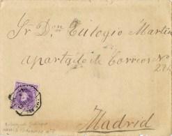 12608. Carta VILLARES De JADRAQUE (Guadalajara) 1908. AMBULANTE Ferrocarril - Storia Postale