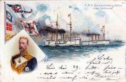 Litho ... S.M.S. Deutschland Und Gefion Unter Volldampf, Österr.Frankierung, Karte Gel.1899 Lambach > Neuzeug >Neu - Krieg