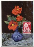 BELGIQUE CARTE MAXIMUM DU N°961  80c. LE RABOT ET BEGONIA OBLITERATION GENT 30-4-55 - Maximum Cards