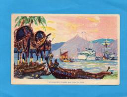 POLYNESIE  -le Sloop Régulus -illustrée  Années 30 - Polynésie Française