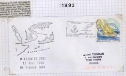 Guerre Du Golf - Embargo De L'O.N.U.  Contre L'Irak - ** Mission Artimon ** - Lettre Sous Cachet Paris Naval Navire En M - Postmark Collection (Covers)