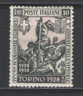 REGNO 1928 EMANUELE FILIBERTO 10 LIRE DENT. 14 ** MNH CENTRATO - 1900-44 Vittorio Emanuele III