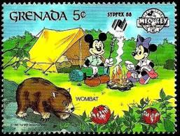 Granada 1988 Scott 1642 Sello ** Walt Disney SYDPEX Australia Camping Mickey Y Minnie Con Wombat 5c Grenada Stamps Timbr - Disney