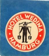 ANCIENNE ETIQUETTE HOTEL WEDINA HAMBURG ALLEMAGNE VINTAGE LABEL LUGGAGE HOTEL - Hotel Labels