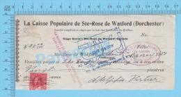 Ste-Rose De Watford  Quebec Canada 1917 ( $20.00,  Coopérative..Syndicats De Quebec, Caisse Pop. Stamp #106)  2 SCANS - Chèques & Chèques De Voyage