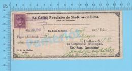 Ste-Rose De Lima Quebec Canada  1942  ( $17.40,  Gravelage Pour La Corporation, Caisse Pop. Stamp #251)  2 SCANS - Chèques & Chèques De Voyage