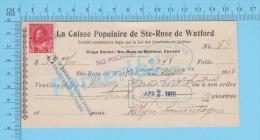 Ste-Rose DeWatford, Quebec Canada  Cheque, 1918  ( $35.00,  Massey Harris Co. Mtl, Caisse Pop.  Stamp #106 ) 2 SCANS - Chèques & Chèques De Voyage