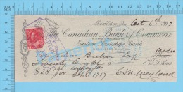 Marbleton,  Quebec Canada Cheque, 1917  ( $28.75,  Gédéon Breton, Eastern Town Ships Bank  Stamp #106) 2 SCANS - Cheques & Traveler's Cheques