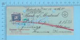 Sherbrooke Quebec Canada , Cheque, 1946 ( $15.00, L. R. Roy, Banque De Montréal  Tax Stamp FX-64)  2 SCANS - Chèques & Chèques De Voyage