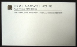 HOTEL MOTEL HOUSE MOTOR INN REGAL NASHVILLE TENNESSEE UNITED STATES USA LUGGAGE LABEL ETIQUETTE AUFKLEBER DECAL STICKER - Hotel Labels