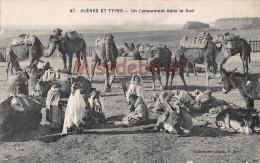 ALGERIE -   Un Campement Dans Le Sud - Dos Vierge - 2 Scans - TTBE - Algérie