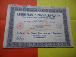 LUBRIFIANTS MASSILIA AVION (fremier Et Huiles D'aviation) 1927 - Actions & Titres