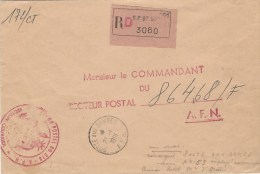Algerie Algeria 1961 Poste Aux Armees AFN Et Le Numero 53 (Rare!) Au Verso Official Unfranked Registered Cover - Postmark Collection (Covers)