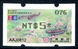 TAIWAN (2015) - ATM - TAIPEI 2015 Stamps Exhibition - Taiwan Trout / Salmon - Endangered Species - Fish, Poisson - Distribuidores