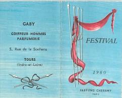 D15-1004 CALENDRIER  PARFUME DES PARFUMS FESTIVAL 1960 GABY COIFFEUR HOMMES A TOURS - Perfume Cards
