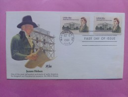 1981 Joint USA / Ireland James Hoban Death 150th Anniv. Fleeetwood FDC With Both Scott#1935-1936 - Emissions Communes