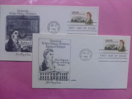 1981 Joint USA / Ireland James Hoban Death 150th Anniv. Pair Of Artmaster FDCs One Of Each US Value - Emissions Communes