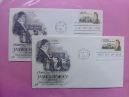 1981 Joint USA / Ireland James Hoban Death 150th Anniv. Pair Of ArtCraft FDCs One Of Each US Value - Emissions Communes