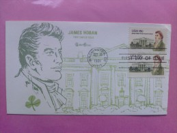 1981 Joint USA / Ireland James Hoban Death 150th Anniv. Tudor House FDC Both US Values - Emissions Communes