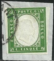 1855-63 - SARDEGNA - 5 CENT. - 13D - CAGLIARI - SIGNED -  SPL - Sardaigne