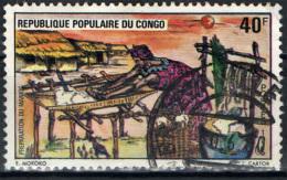 CONGO BRAZZAVILLE - 1975 - DONNA CHE PREPARA LA MANIOCA - USED - Congo - Brazzaville
