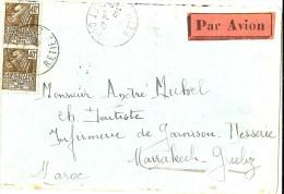 LACH- FRANCE LETTRE AVION PARIS / INFIRMERIE DE GARNISON MARRAKECH 2/4/1931 - Poststempel (Briefe)