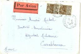 LACH- FRANCE LETTRE AVION PARIS / HÔPITAL MILITAIRE  CASABLANCA 18/8/1931 - Luchtpost