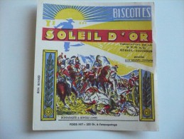 BUVARD Biscottes SOLEIL D'OR. Dessin BONAPARTE à RIVOLI 1797. Très Bon Etat. Années 50. BATAILLE NAPOLEON - Biscottes