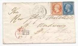 - Lettre -  BFE TURQUIIE - SALONIQUE GC.5096 S/TP Napoléon III N°22+N°23 + PD Noir + Càd Perlé T.B - 1864 - Frankreich (alte Kolonien Und Herrschaften)