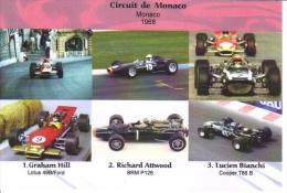 Grand Prix De Monaco 1968  -  Graham Hill (Lotus)- Richard Attwood (BRM) - Lucien Bianchi (Cooper) -  Carte Postale - Grand Prix / F1